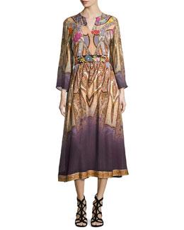 Paisley Bracelet-Sleeve Midi Dress, Peach/Lilac