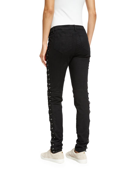 Dent Laced Skinny Jeans, Black