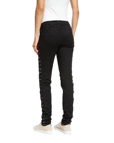 Dent Laced Skinny Jeans, Black