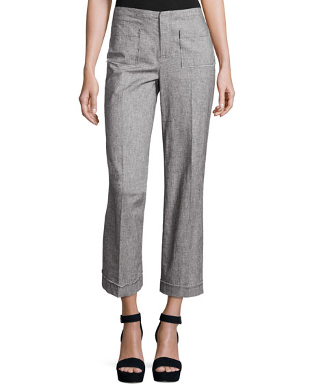ATM Anthony Thomas Melillo Cropped Tweed Wide-Leg Pants,