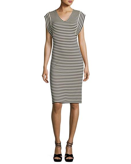 Striped V-Neck Sheath Dress, Multi