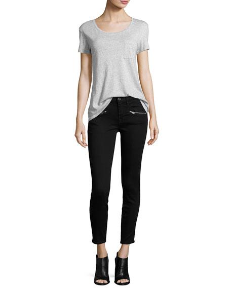 """(B)Air"" Ankle Skinny Jeans w/Zip Pockets, Black"