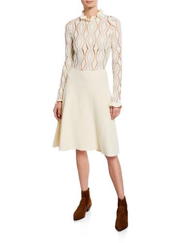 Lacy Jersey Long-Sleeve Dress