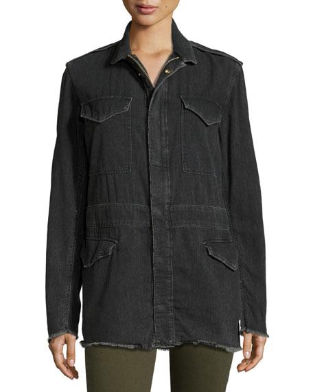 Nicolas Long Denim Field Jacket, Dark Gray