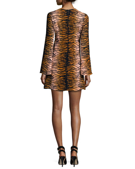 Brinkley Fit-and-Flare Tiger-Stripe Dress, Multicolor