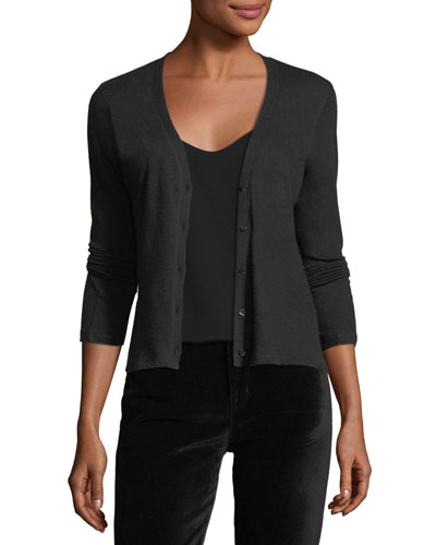 Knit V-Neck Cashmere Cardigan