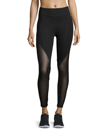 Koral Activewear Lucent Mid-Rise Mesh-Panel Athletic Leggings,