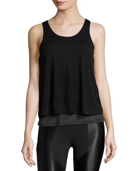 Shift Open-Back Layered Tank Top, Black/Metallic