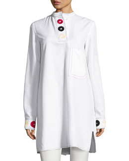 Embroidered Band-Collar Shirtdress, White