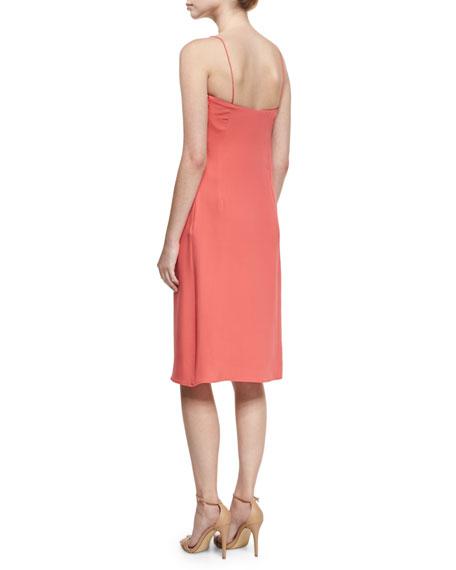 Draped Silk Cami Dress, Pink