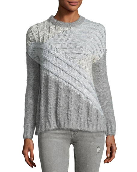 Current/Elliott The Mixed Cable Sweater, Gray
