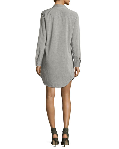 Brett Cotton Shirtdress, Gray