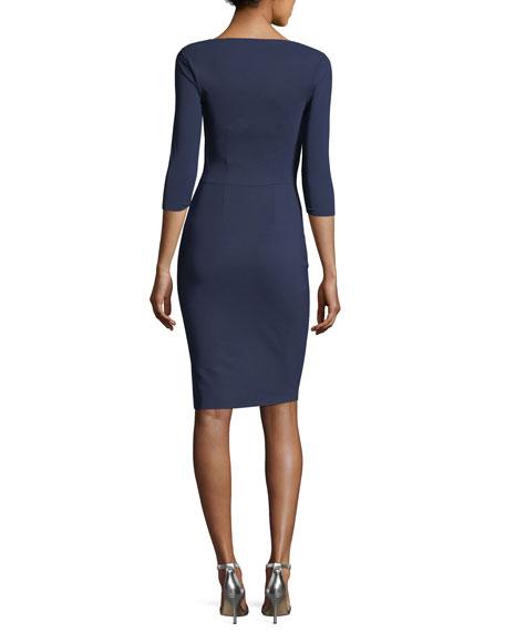 Slit-Neck 3/4 Sleeve Ruched Cocktail Dress