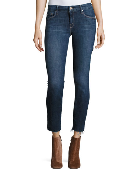 MOTHER The Looker Ankle Fray Girl-Crush Denim Jeans,