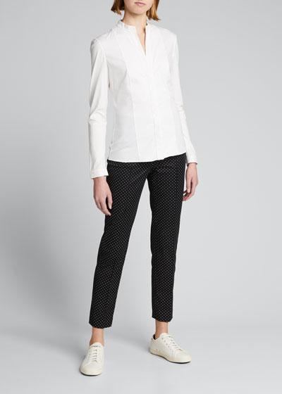 Long-Sleeve Cotton Jersey-Back Blouse
