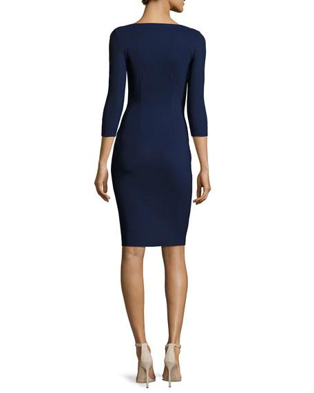 Emertiene 3/4-Sleeve Wrap-Style Cocktail Dress, Navy