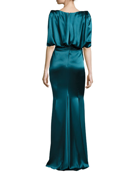 Lobata Draped-Sleeve Ruched Gown, Blue