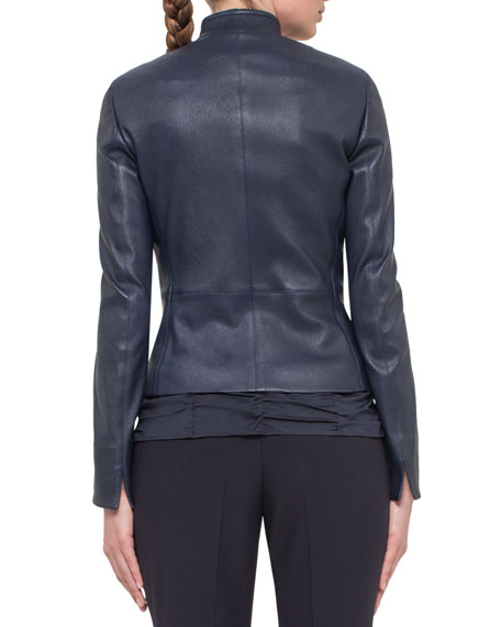 Fitted Stretch-Leather Jacket, Navy
