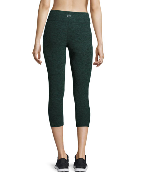 Space-Dye Capri Sport Leggings, Black/Evergreen