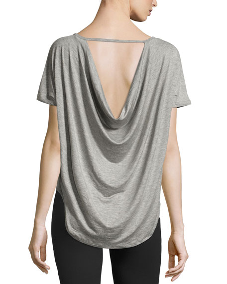 Out of Slink Cowl-Back Dolman Athletic Tee, Medium Gray