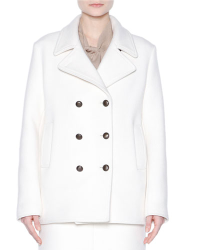 Double-Breasted Pea Coat, Chalk