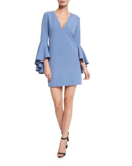 Nicole Bell-Sleeve Cady Shift Dress