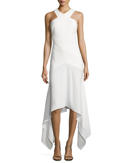 Bryony Ponte Handkerchief-Hem Gown, Ivory