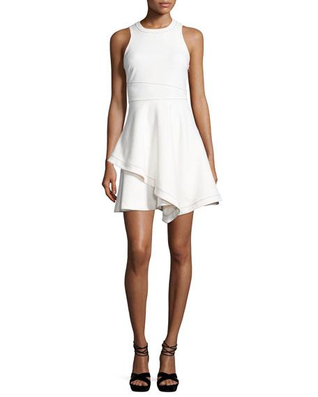 Lyla Sleeveless Handkerchief-Hem Dress, White/Black