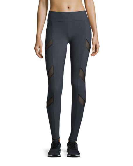 Lanston Tate Chevron-Mesh Athletic Leggings, Gray/Black