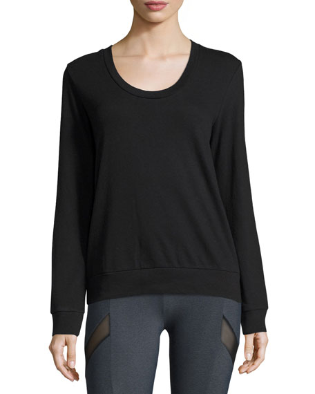 Diamond-Back Layered Athletic Pullover, Black