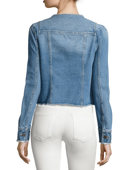 Cranham Frayed-Edge Denim Jacket, Blue
