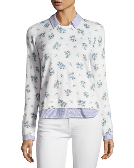 Joie Rika J Layered Floral-Print Sweater, White