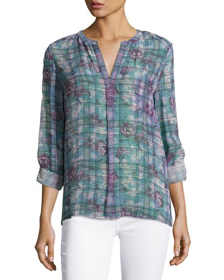 Brigid Floral Plaid Silk Shirt, Purple