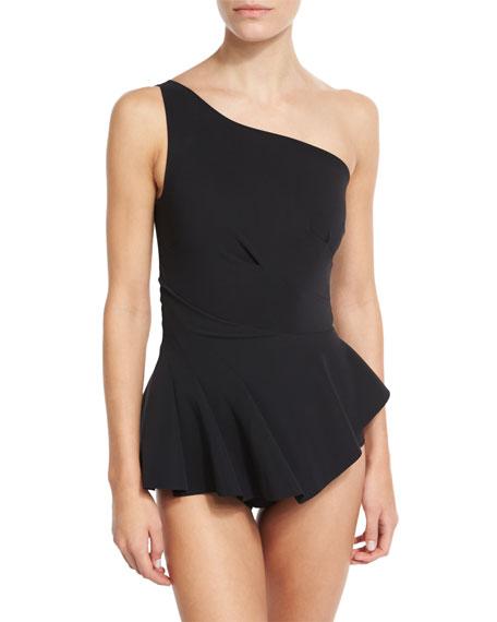 Astrea One-Shoulder Swimdress, Black