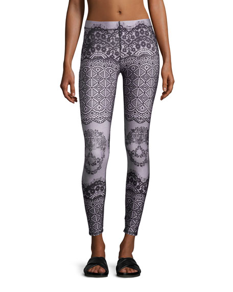 Terez Skull Lace Printed Performance Leggings, Black/Pink