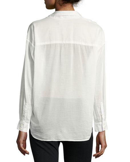 Moxy Cotton-Blend Wrap Shirt, White
