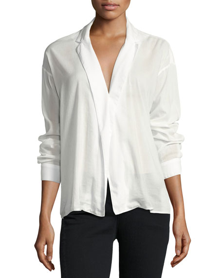 3x1 Moxy Cotton-Blend Wrap Shirt, White