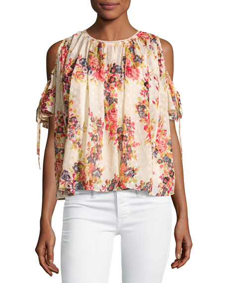 Prairie Rose Cold-Shoulder Chiffon Top, Pink