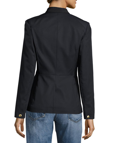 Windsor Single-Button Cotton Blazer, Navy
