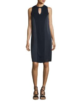 Hart Two-Tone Sleeveless Shift Dress, Navy