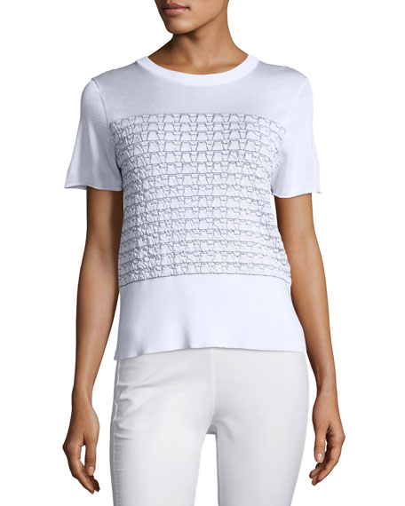 Rag & Bone Gwen Textured Knit Tee, White