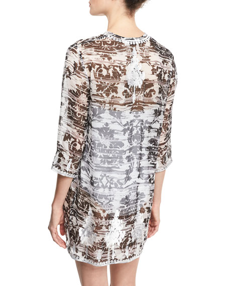 Embroidered & Printed Silk Chiffon Tunic Coverup, Black/White