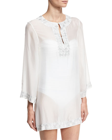 Embroidered Bell-Sleeve Silk Chiffon Tunic, White