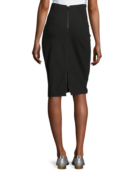 Phoebe Back-Zip Pencil Skirt, Black