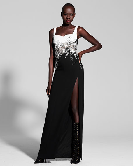 Embellished Two-Tone Sweetheart Gown, Black/White