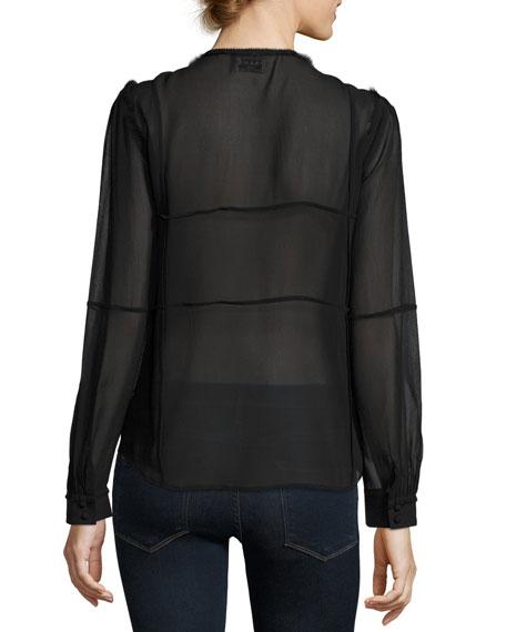 Windowpane Long-Sleeve Silk Chiffon Shirt, Noir