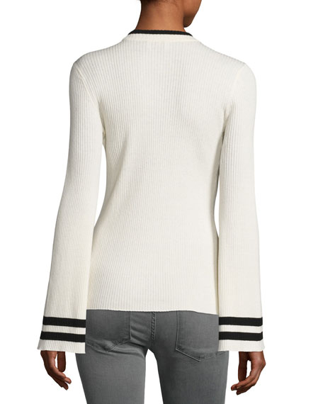 Bell-Sleeve Ribbed Crewneck Sweater, Off-White/Noir Stripe