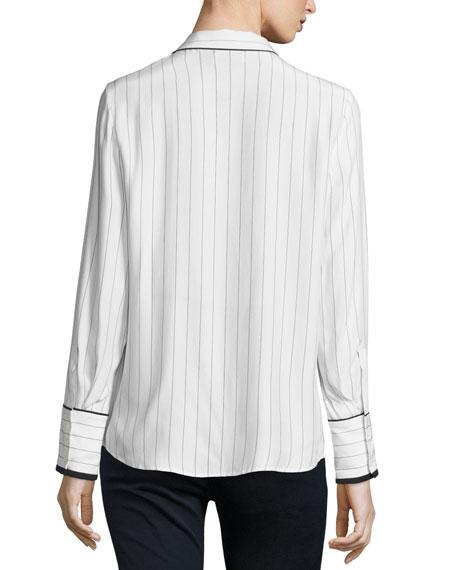 Pinstripe Silk Pajama Shirt, Blanc/Navy