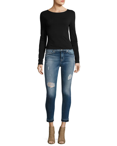 Nico Mid-Rise Distressed Skinny Ankle Jeans with Released Hem, Indigo