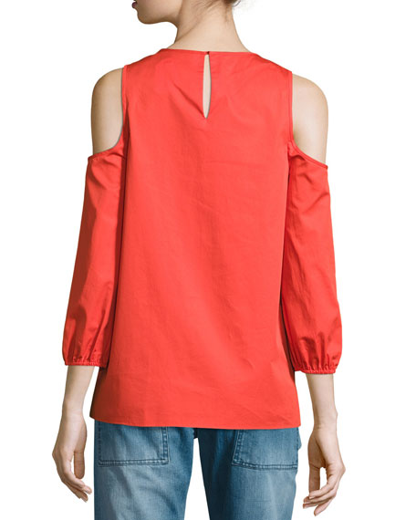 Cold-Shoulder Poplin Top, Red